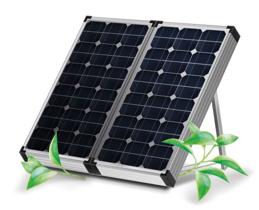 Realistic renewable energy template with solar panels and green leaves on white background vector illustration