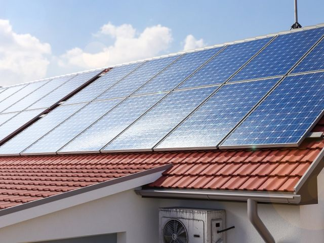 Solar panels on the house roof 3d rendring